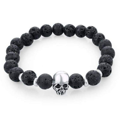 Iwantzone.com - Natural Stone Skull Bracelet Collection - Dark Black - Natural-Stone-Skull-Bracelet-Collection