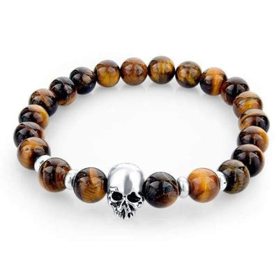 Iwantzone.com - Natural Stone Skull Bracelet Collection - Dark Brown - Natural-Stone-Skull-Bracelet-Collection