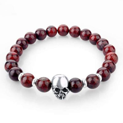 Iwantzone.com - Natural Stone Skull Bracelet Collection - Dark Red - Natural-Stone-Skull-Bracelet-Collection