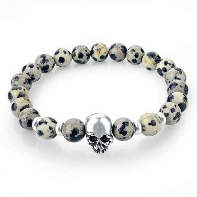 Iwantzone.com - Natural Stone Skull Bracelet Collection - Grey - Natural-Stone-Skull-Bracelet-Collection