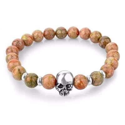 Iwantzone.com - Natural Stone Skull Bracelet Collection - Light Red - Natural-Stone-Skull-Bracelet-Collection