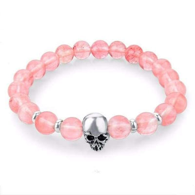 Iwantzone.com - Natural Stone Skull Bracelet Collection - Pink - Natural-Stone-Skull-Bracelet-Collection