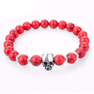 Iwantzone.com - Natural Stone Skull Bracelet Collection - Red - Natural-Stone-Skull-Bracelet-Collection