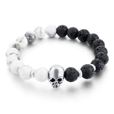 Iwantzone.com - Natural Stone Skull Bracelet Collection - White Black - Natural-Stone-Skull-Bracelet-Collection