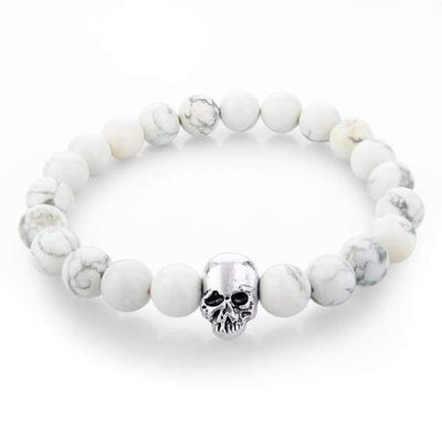 Iwantzone.com - Natural Stone Skull Bracelet Collection - White - Natural-Stone-Skull-Bracelet-Collection
