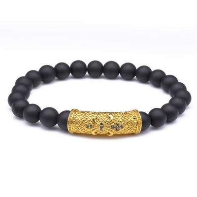 iWantZone.com-New Charm Bracelet with Black Stone Beads-iWantZone.com-Gold-