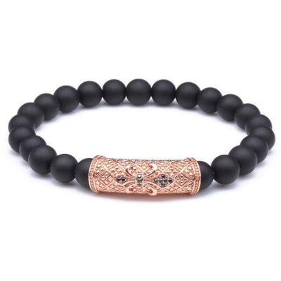 iWantZone.com-New Charm Bracelet with Black Stone Beads-iWantZone.com-Rose Gold-