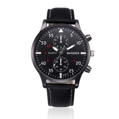Retro Design Chronograph Watch Collection - Black - retro-design-chronograph-leather-strap-watch