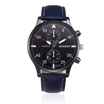 Iwantzone.com - Retro Design Chronograph Watch Collection - Blue - Retro-Design-Chronograph-Leather-Strap-Watch
