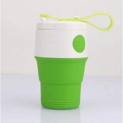 iWantZone.com-Silicone Folding Cup with Lids-Coffee Cups & Mugs-www.iWantZone.com-Green-