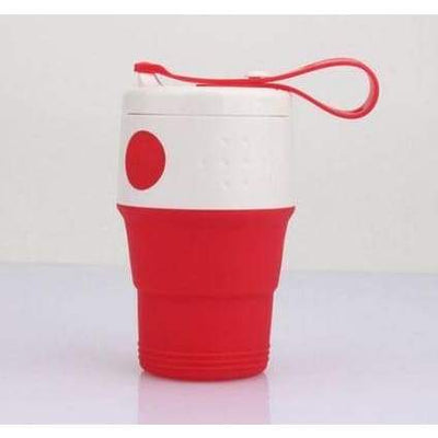iWantZone.com-Silicone Folding Cup with Lids-Coffee Cups & Mugs-www.iWantZone.com-Red-