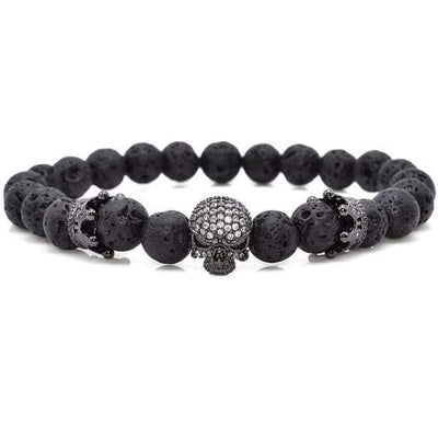 iWantZone.com-Skull & Crown With Black Lava Rock-iWantZone.com-Black-16cm-