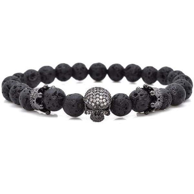 iWantZone.com-Skull & Crown With Black Lava Rock-iWantZone.com-
