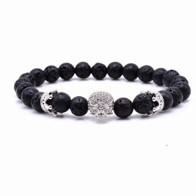 iWantZone.com-Skull & Crown With Black Lava Rock-iWantZone.com-Silver-16cm-