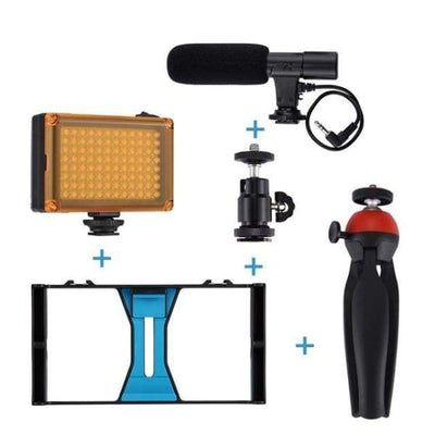 Iwantzone.com - Smartphone Rig - Photo Studio Accessories - Rig + Light + Mic + Tripod - Smartphone-Rig