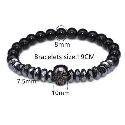 Titanium Skull and Beads Bracelets with Nature Stone Beads - titanium-skull-and-beads-bracelets-with-nature-stone-beads