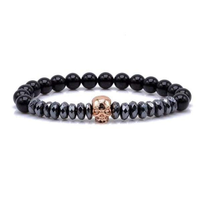 Titanium Skull and Beads Bracelets with Nature Stone Beads - Rose Gold Skull / 16cm -