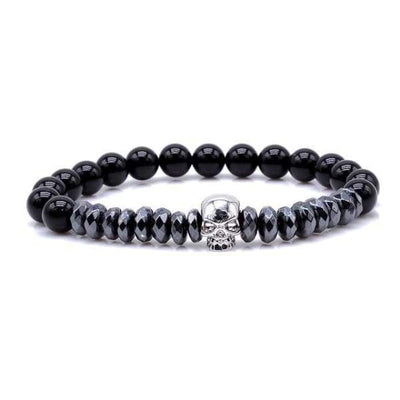 Iwantzone.com - Titanium Skull And Beads Bracelets With Nature Stone Beads - Silver Skull / 16Cm -