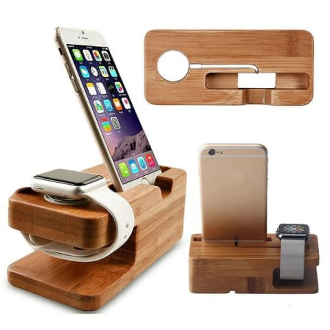 Bamboo Smart Phone & Watch Charging Dock