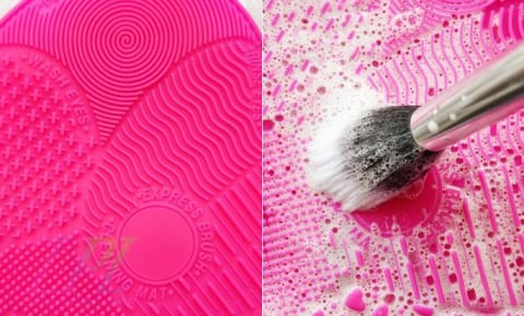 Silicone pad make-up brush cleaner