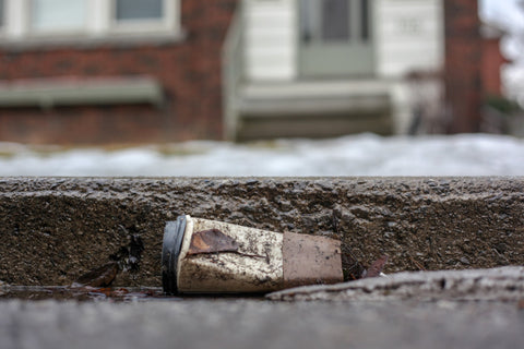 Disposable coffee cup on the street