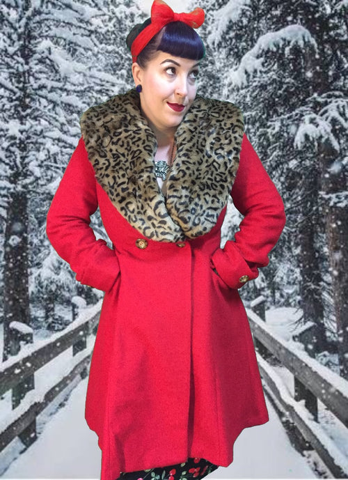 Banned Red/Leopard Coat