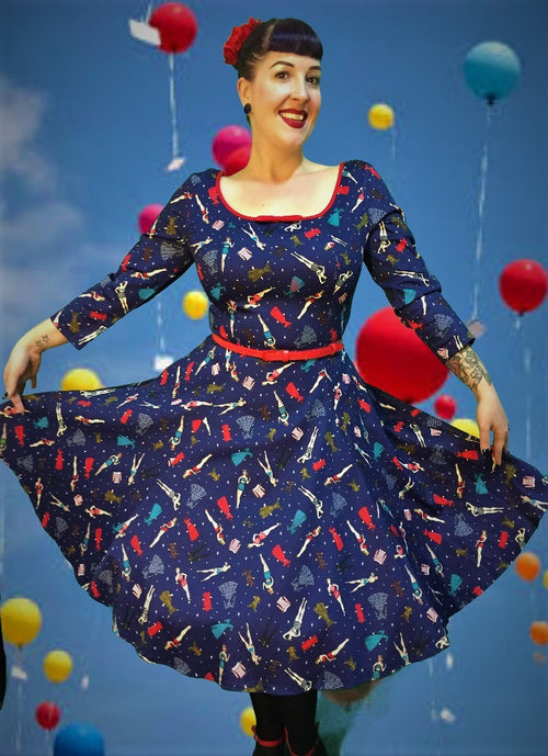 Collectif Willow Paper Doll Print Dress