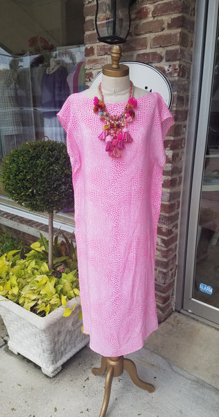 caftan dress long bateau neck pink animal print resort wear one of a kind