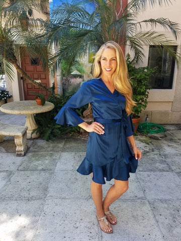 Blue Wrap dress with sleeve and ruffle. silk charmeuse. available in 100 solid colors. Classic elegant fit
