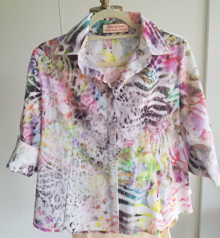 large shirt jacket cotton print one of a kind resort wear comfortable classic fit and style
