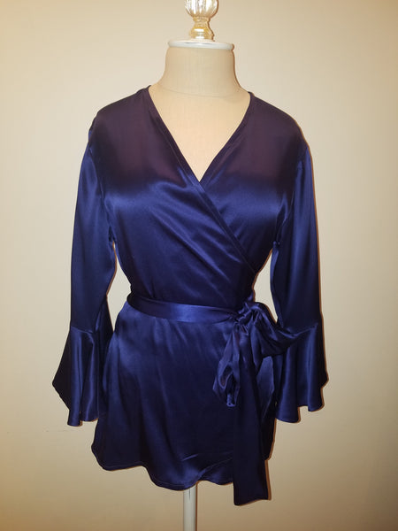 Navy wrap top with sleeve and ruffle. silk charmeuse. 100 solid colors. Classic elegant fit