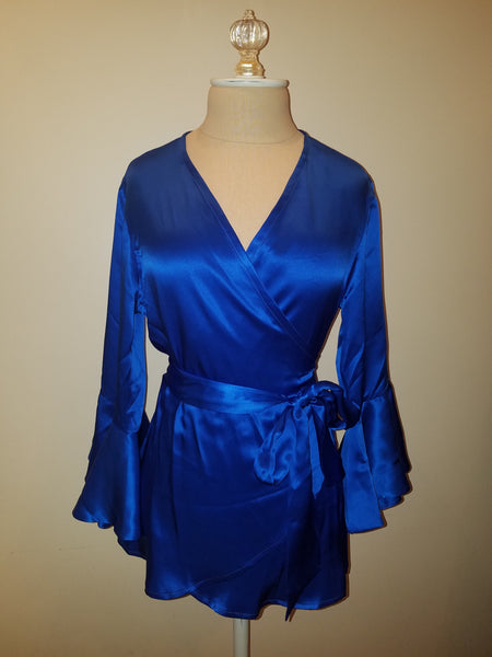 Kelly Blue wrap top with sleeve and ruffle. silk charmeuse. 100 solid colors. Classic elegant fit