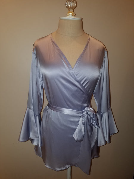 Soft Blue wrap top with sleeve and ruffle. silk charmeuse. 100 solid colors. Classic elegant fit