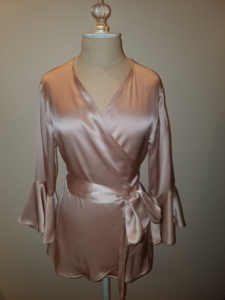 Pink wrap top with sleeve and ruffle. silk charmeuse. 100 solid colors. Classic elegant fit