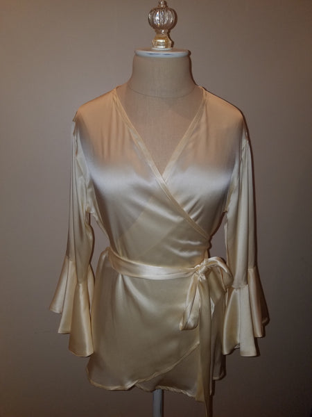 Cream wrap top with sleeve and ruffle. silk charmeuse. 100 solid colors. Classic elegant fit