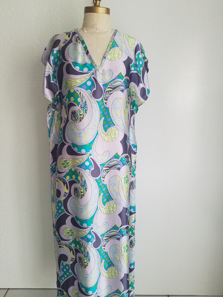 caftan vneck dress long silk print one of a kind resort or evening wear