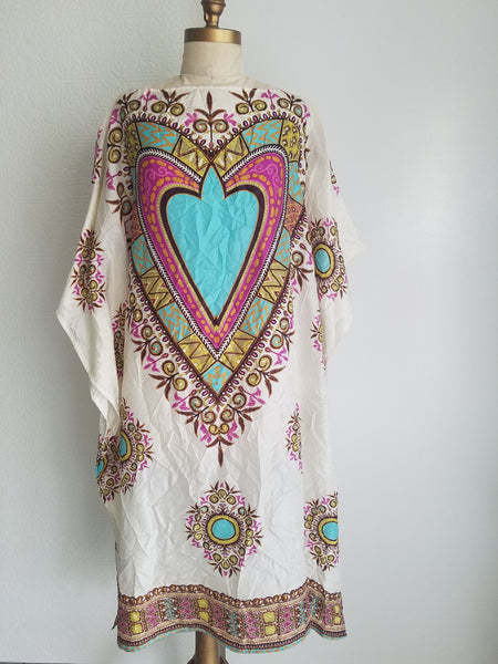 caftan dress bateau neck silk panel print resort wear one of a kind