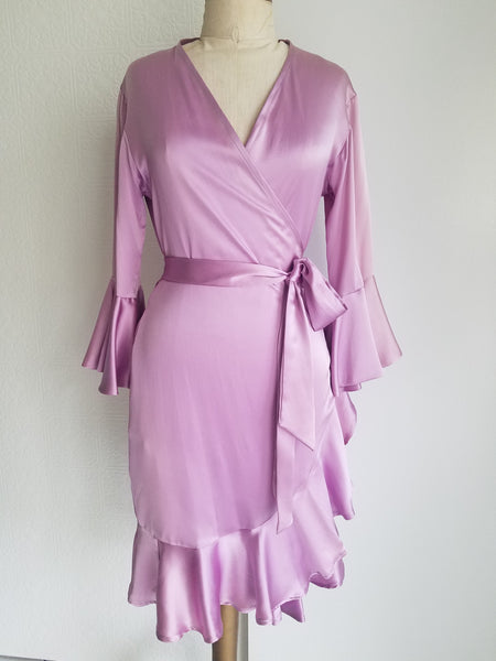 Orchid pink Wrap dress with sleeve and ruffle. silk charmeuse. available in 100 solid colors. Classic elegant fit
