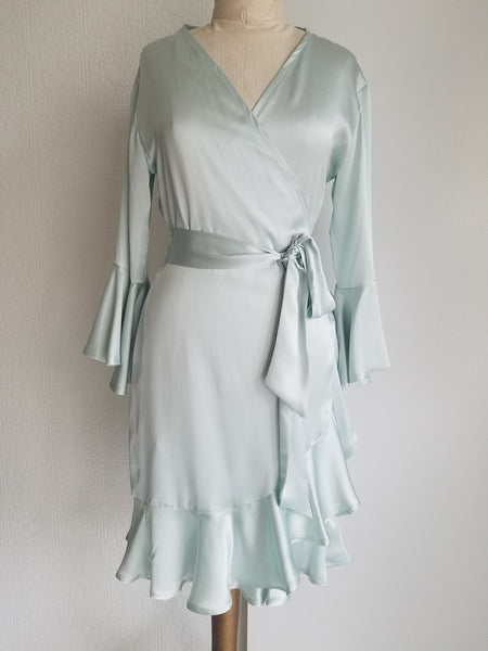 Green sea glass Wrap dress with sleeve and ruffle. silk charmeuse. available in 100 solid colors. Classic elegant fit