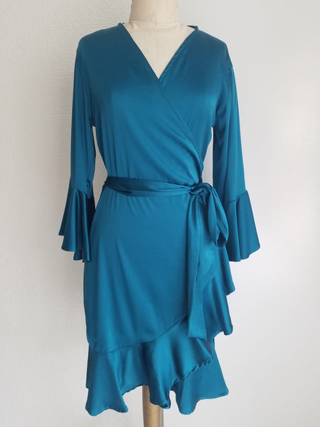 Emerald green Wrap dress with sleeve and ruffle. silk charmeuse. available in 100 solid colors. Classic elegant fit