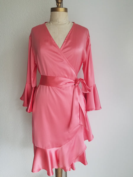 Coral Wrap dress with sleeve and ruffle. silk charmeuse. available in 100 solid colors. Classic elegant fit