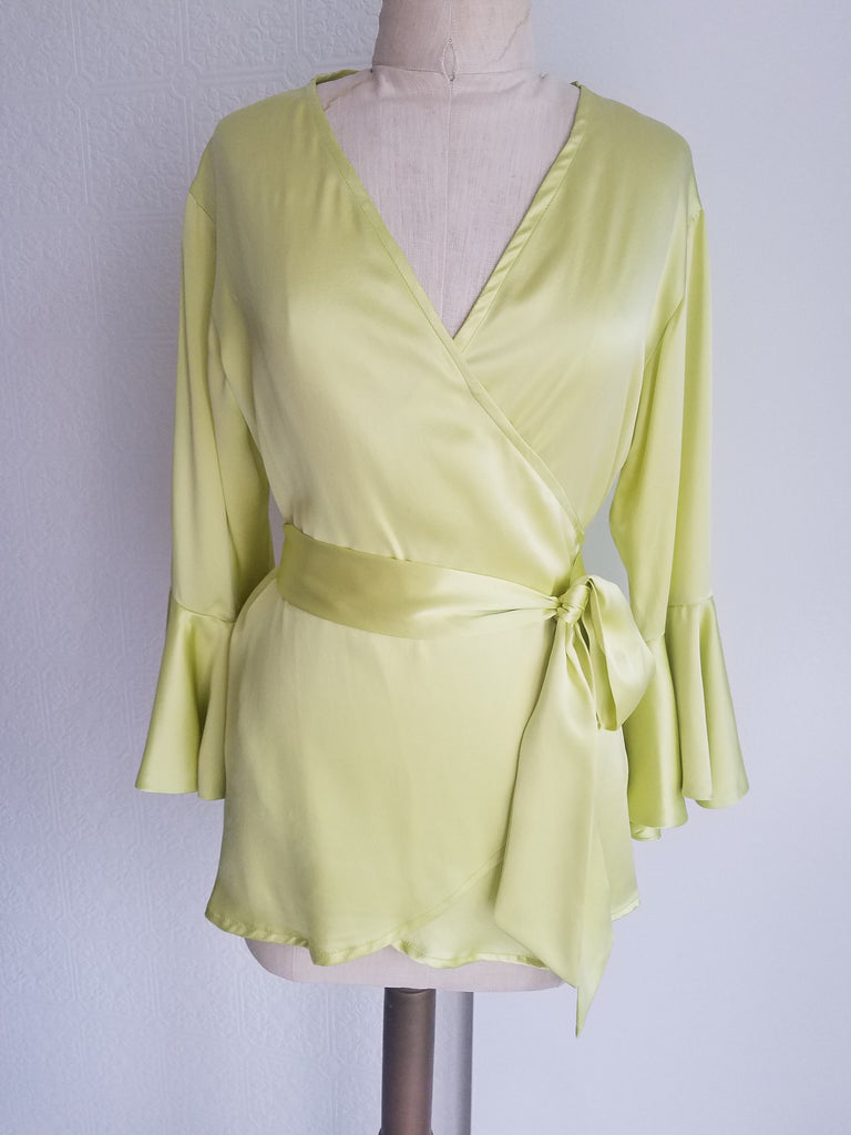 Yellow wrap top with sleeve and ruffle. silk charmeuse. 100 solid colors. Classic elegant fit