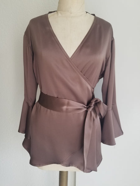 Mocha wrap top with sleeve and ruffle. silk charmeuse. 100 solid colors. Classic elegant fit