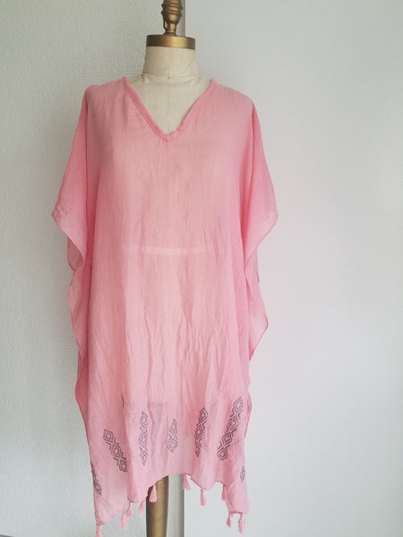 cotton caftan beach cover up dress top resort wear lounging bohemian style