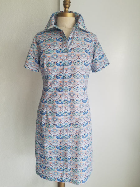 shirt dress cotton print classic comfortable fit and style resort wear