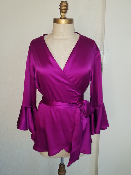 Silk Wrap top with sleeves and ruffle