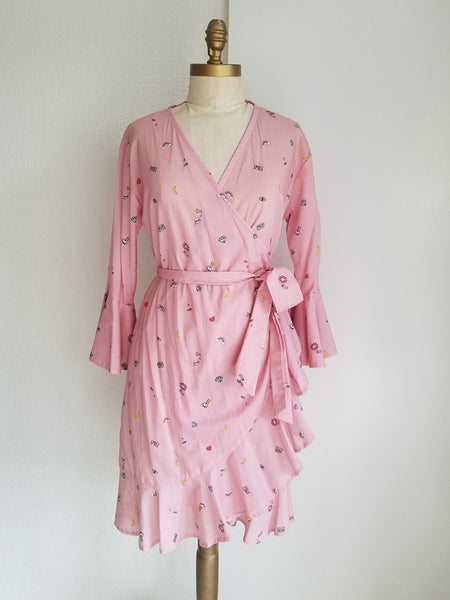 Cotton Wrap dress with sleeves and ruffle