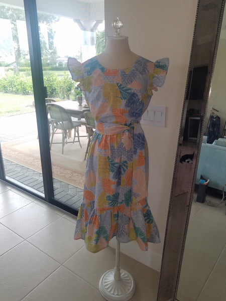 Girly cotton dress with sash