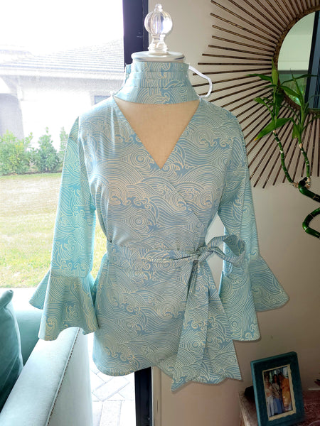 Cotton Wrap top with sleeves and ruffle