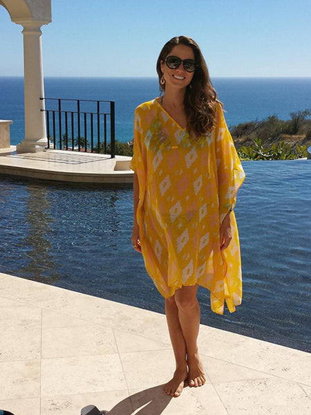 caftan beach cover up cotton dress or top resort wear travel comfortable fit